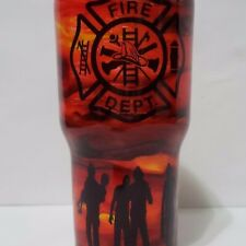 Fireman Firefighters Custom Alcohol Ink  Tumbler 30oz