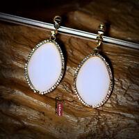 Orecchini Clip Arte Deco Ovale Semplice Bianco Originale Matrimonio Regalo C3