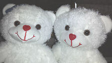 2 Valentine Bears! Female And Male White Bears with Heart Noses New