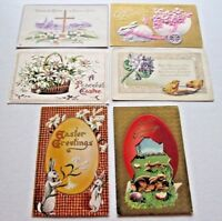 Lot of 6 Vintage Easter Postcards (2) Unposted (4) Posted 1911 Collectible