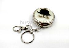 Mini Round Metal Key Ring Pocket Portable Ashtray Cigarette Cat B Travel Clip
