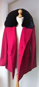 Vintage Jacques Vert Cashmere Wool Red Coat Ladies Womens Sze 12/14  Fur Collar