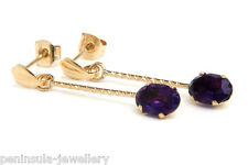 9ct Gold Amethyst long drop Earrings Made in UK Gift Boxed