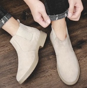 Mens Ankle Chelsea Boots Suede Slip-on Pumps Trendy Warm Flat Plush Plus US Size