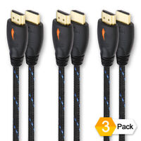 [3 PACK] 6 Feet / 6FT HDMI Cable Supports 4K 3D Full HD 1080p for PS3/PS4, XBox
