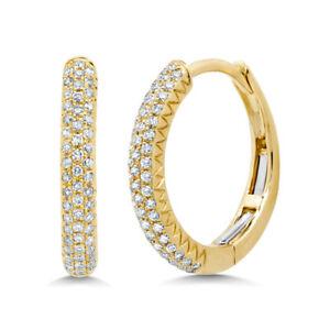 "0.21 CT 14K Yellow Gold Natural Round Diamond Pave Hoop Earrings 0.60"" Diameter"