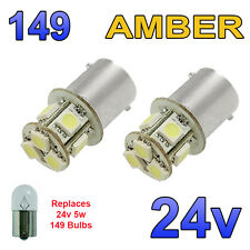 2 x Amber 24v LED BA15s 149 R5W 8 SMD Number Plate Interior Bulbs HGV Truck