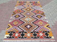 """Vintage Turkish Kilim Rug,Antalya Barak Kilim,Wool 53,1""""x98,4"""" Area Rug,Carpet"""
