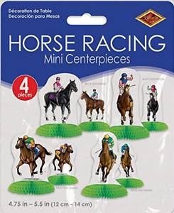 4 HONEYCOMB HORSE JOCKEY CENTREPIECES MELBOURNE CUP RACE DAY PARTY DECORATIONS