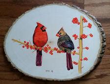 Red Cardinal 2, Bird, Wildlife, Original Acrylic Painting on Wood, Signed, Art