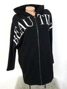 MADE IN ITALY BEAUTIFUL Long Hoodie Oversized Sweatjacke Sweat Kleid 36 38 40