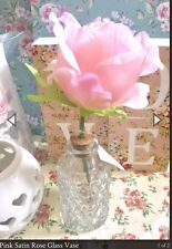 Pink Satin Rose In Glass Jar Artificial Flowers Floral Shabby Chic Gift Flower