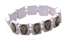 Religious - grey cross & white square/one size fits all hand bracelet(ZX240)