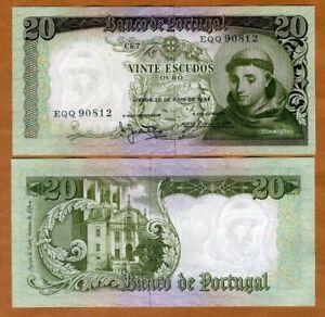 Portugal, 20 Escudos, 1964, P-167b, UNC > St. Antonio of Padua