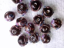 Vtg 50 AMBER WEDDING CAKE BEADS 10mm PINK ROSE necklace #080518f