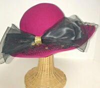 """Bollman Hat Co Hot Pink wool Church Hat Netting Bow USA 22"""" IC New"""