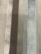 Woven Taupe WOVEN UPHOLSTERY FABRIC Blue Aqua CUT VELVET STRIPE (2.1 Yards)