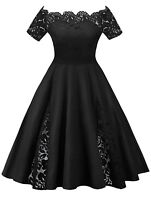 Plus Size Women Cocktail Evening Dress XL-5XL Off Shoulder Lace Inset Dress
