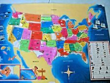 Vintage 80's? Discovery Toys: Usa Map w/ vinyl state stickers; one state missing