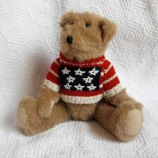 "Ganz ""Moe"" Jointed Plush Teddy Bear 1994 Red White Blue Patriotic Sweater 12"""