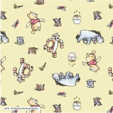 Winnie The Pooh Playtime Chamomile Quilting Fabric - Per 1/4 Metre