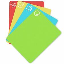 4 Pc/Set Flexible Non-slip Chopping Block Cutting Board Mats With Food Icons Kit