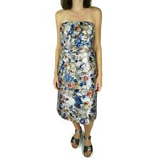 J Crew Collection Womens Strapless Dress 12 Floral Metallic Jacquard Silver Blue