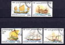 Bateaux Cambodge (15) série complète de 5 timbres oblitérés
