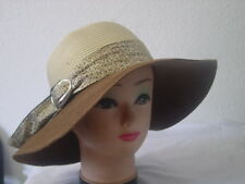 LADIES SUMMER STRAW HATS WITH PRINTED FABRIC BAND AND BUCKLE