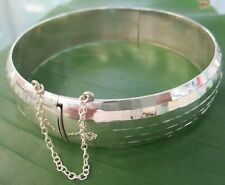 Real 925 sterling silver 20mmx80mm HAMMERED STRONG VERY BIG BANGLE GIRL WOMEN