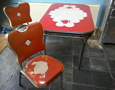 1950s genuine dinette (diner style) chrome & formica table and two vinyl chairs