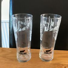 2 Branded 2017  Carling Embossed 20oz (57cl) CE Toughened & Nucleated Glasses