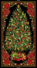 Christmas Tree Decorated & Framed with Poinsettias Panel-Timeless Treasures