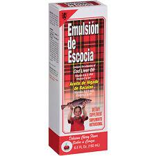 Emulsion De Escocia Cherry COD LIVER OIL LIQUID ACEITE BACALAO Vitamin A, D & E