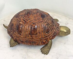 Vintage SARREID LTD Wood Carved Brass Turtle Italy Rare