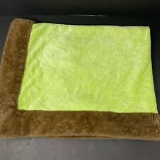 Nojo Simply Baby Blanket Green Brown Trim Plush Velour Thick Heavy Warm Lovey