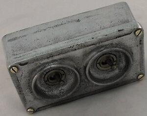 NEW Vintage Industrial 2 Gang Cast Metal Light Switch - BS EN Approved