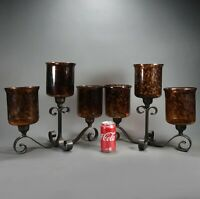 Set of 2 Beautiful Large Black Wrought Iron 3 Candle Candelabra's