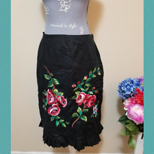 Ecologie Women's Black Pencil Skirt w/ Floral Embroidery | Size 6 | Pleated Hem