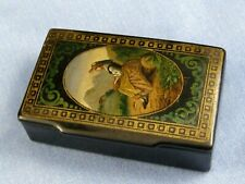 ANTIQUE PAPIER MACHE SNUFF TOBACCO POCKET BOX YOUNG GIRL TRADITIONAL DRESS