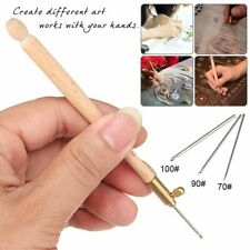 Wooden Handle Crochet with 3 Needles Embroidery Beading Hoop Sewing Tool Set
