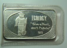 Ecology Give a Hoot Done Pollute Silver Art Bar - Switzerland - Original Plastic