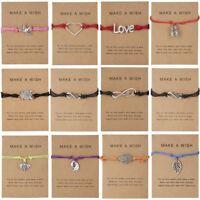 Make a wish Card Handmade Love Heart Animal Bracelet Friendship Bangle Jewelry