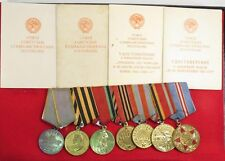 WWII set bar 7 Soviet Russian Medals Silver Battle Military Merit With Documents