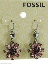 Fossil Crystal Flower Earrings Daisy Double Drop Brass Ox Tone Pink Crystals New