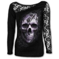 Spiral Direct LACE SKULL Womens, Goth, Long Sleeve Lace Shoulder, Top, Clothing