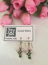 Glodtone Green Cactus with Pink Flower Blossom Dangle Earrings