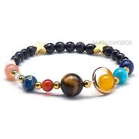 Galaxy Universe Bracelet Natural Stone Beads Nine Planets Solar System Gift UK
