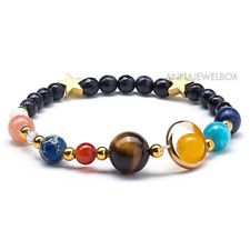 Galaxy Universe Bracelet Natural Stone Beads Nine Planets Solar System Gift UK