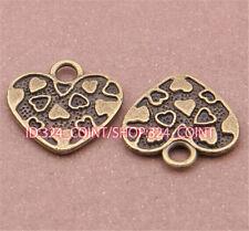 P583 12pc Antique Bronze heart Pendant Bead Charms Accessories wholesale